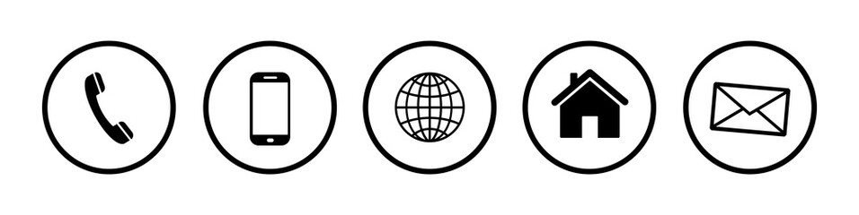 Fototapeta Kontakt Icons. Contact Us – Set of buttons. Web icons . Communication vector ilustration obraz