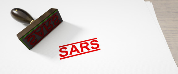paper background with a stamp and the word SARS