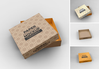 Small Square Box and Lid with 2 Views Mockup