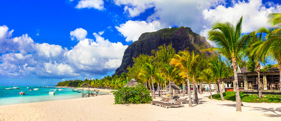 Wall Mural - Best tropical destination - paradise island Mauritius and best beach Le Morne