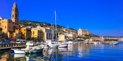 View of beautiful coastal town Gaeta. and scenic marine with fishing boats. Landmarks of Italy, Lazio