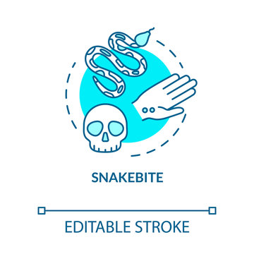 Snakebite, bitten wound concept icon. Poisonous snake bite, organism intoxication, health damage idea thin line illustration. Vector isolated outline RGB color drawing. Editable stroke