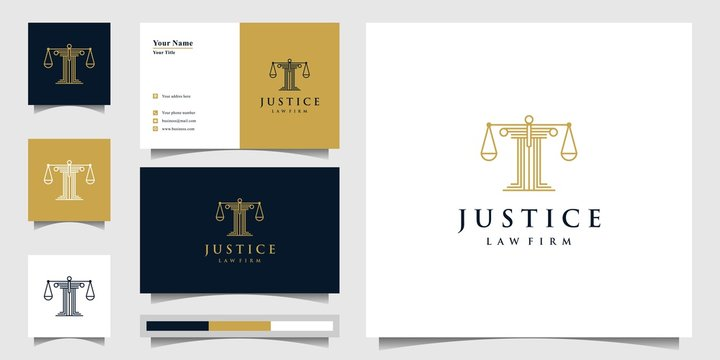 Pillar logo design inspiration, law and justice concept and business card Premium Vector