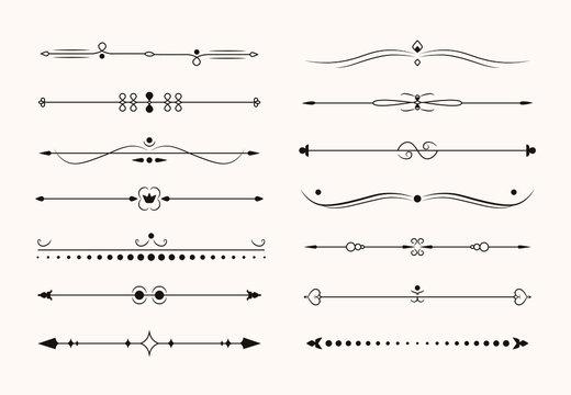 Collection of vintage dividers. Page divider set isolated on light background. Elegant ornament decoration vignettes, retro nouveau vector illustration