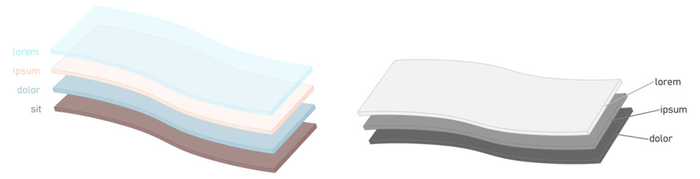 Simple layers or fabric diagram. Two versions one layer is transparent, sheets are slightly bent