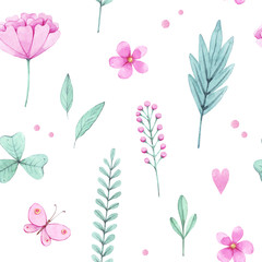 Hand drawn watercolor seamless pattern with pink flowers, leaves. Green plants on a white background. Design for fabric, wallpaper, napkins, textiles, packaging, backgrounds. Delicate and stylish.