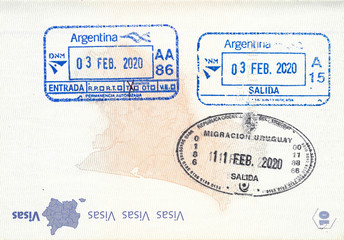 Photo sur Aluminium Amérique du Sud Immigration stamps of Argentina and Uruguay in a French passport. No personal data