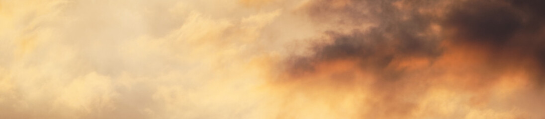 Background for a banner with a beautiful sunset sky. Beautiful clouds.