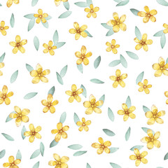Hand drawn watercolor seamless pattern with yellow flowers and leaves. Green plants on a white background. Design for fabric, wallpaper, napkins, textiles, packaging, backgrounds. Delicate and stylish