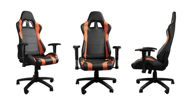 All angels view of racing car seat design office chair isolated on white background