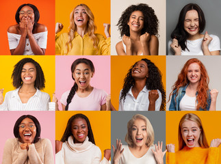Collage with amazed multiethnic young women on colorful background