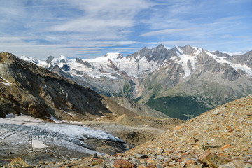 Wall Mural - Beautiful views on Fee glacier and surrounding massive above Saas-Fee village
