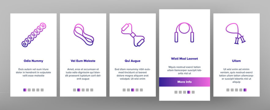Exercise Band Tools Onboarding Icons Set Vector. Resistance And Stretchable Belt, Athletic Expander Exercise Band Sport Equipment Illustrations