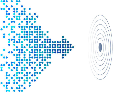 abstract background with blue dotted arrow and aim