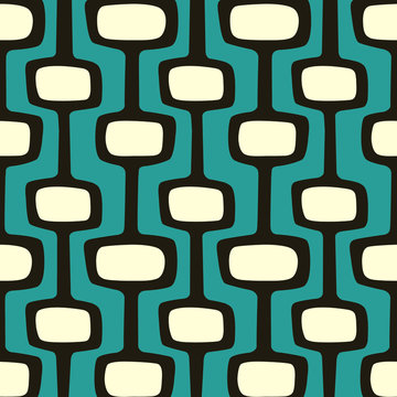 Mid-century modern atomic age background in teal, cream and dark brown. Ideal for wallpaper and fabric design.