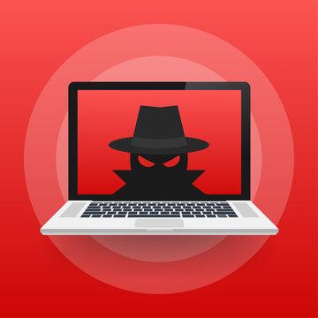 Spyware, Internet technology. Stop sign, Web icon. Danger symbol. Concept hacking computer. Vector illustration