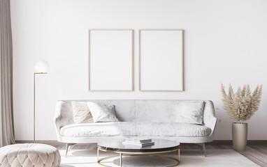 Obraz Frame mockup in stylish white modern living room interior, home decor - fototapety do salonu