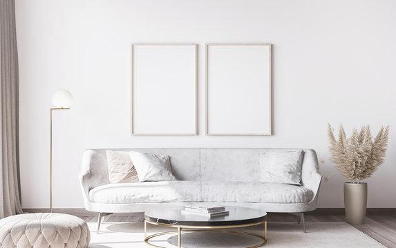 Frame mockup in stylish white modern living room interior, home decor