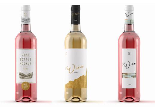Rose or White Wine Bottle Mockup