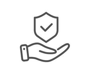 Obraz Insurance hand line icon. Risk coverage sign. Policyholder protection symbol. Quality design element. Editable stroke. Linear style insurance hand icon. Vector - fototapety do salonu