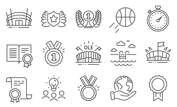 Set of Sports icons, such as Sports arena, Swimming pool. Diploma, ideas, save planet. Arena stadium, Diploma, Laureate award. Reward, Honor, Timer. Approved, Basketball, Laureate line icons. Vector