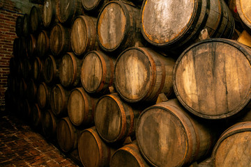 Wall Mural - Wine barrels on old cellar