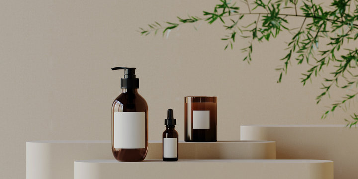 Minimal background for branding and product presentation. Cosmetic bottle on podium with green plant on beige background. 3d rendering illustration.