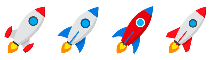 Rocket icons set. Spaceship launch icon. Vector