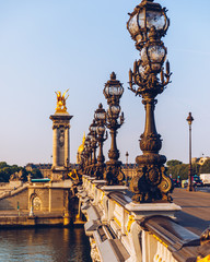 Fotobehang Parijs Pont Alexandre III bridge over river Seine in the sunny summer morning. Bridge decorated with ornate Art Nouveau lamps and sculptures. The Alexander III Bridge across Seine river in Paris, France.