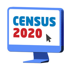 Accessing the Census 2020 website on a blue computer,  on isolated white background - 3d illustration
