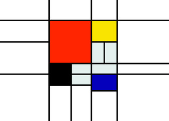 Abstract mondrian template design artwork retro background. Colorful geometric illustration vector isolated on white background