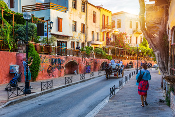 Keuken foto achterwand Smal steegje Charming streets of Greek islands, Crete. Street in the old town of Chania, Crete, Greece. Beautiful street in Chania, Crete island, Greece. Summer landscape. Travel and vacation.