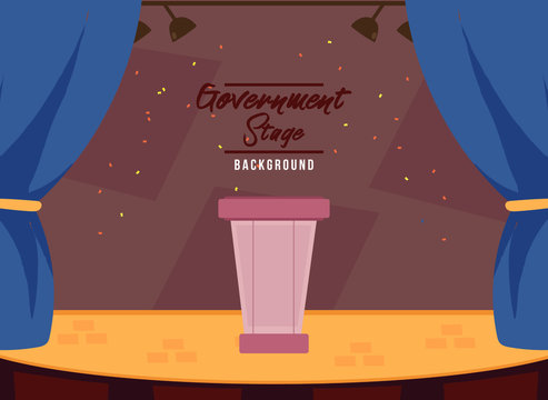 Parliament podium with stage.  Politician podium with brown background. Flat Vector Illustration. Brown Design Background. Web vector illustration. Vector Background.