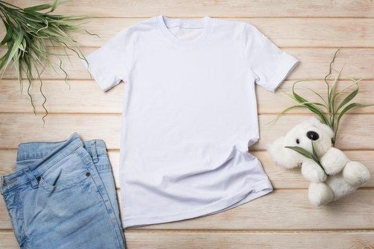 Kids T-shirt mockup with koala bear toy