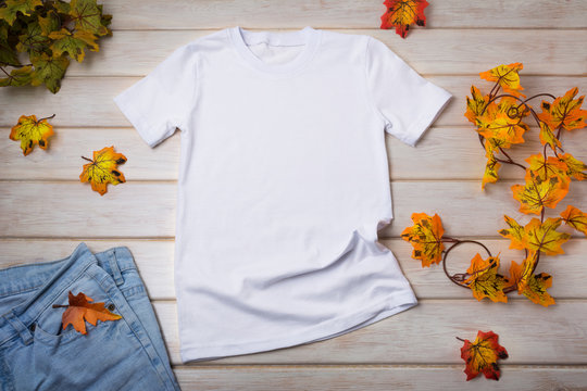 Unisex T-shirt mockup with fall leaves