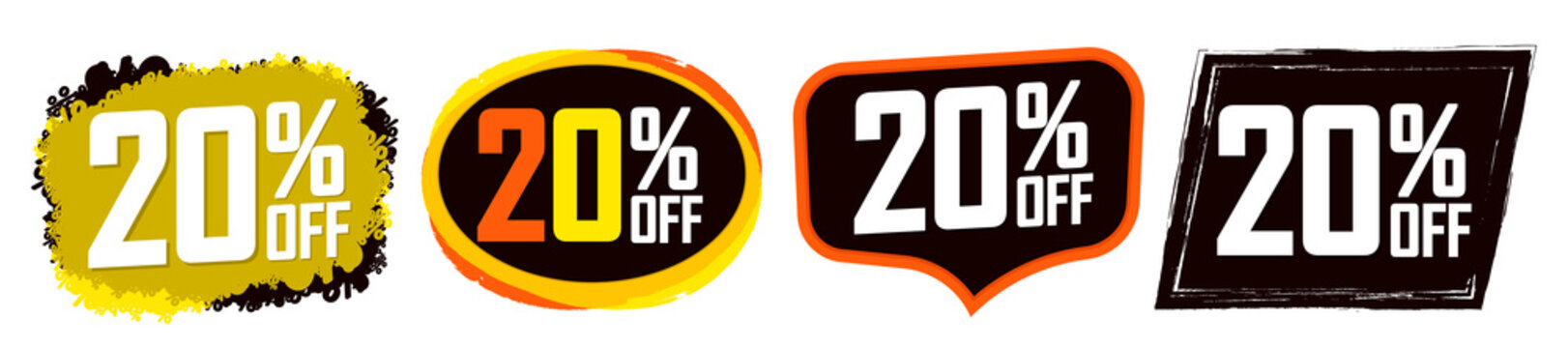 Set Sale 20% off banners, discount tags design template, promo app icons, vector illustration