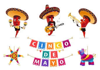 Cinco de Mayo holiday jalapeno pepper musicians, pinata and papel picado flags, vector Mexican fiesta. Red pepper in sombrero hats, maracas, mariachi musician guitar and trumpet, carnival festive
