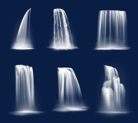 Waterfall cascade, realistic water fall streams, isolated vector pure liquid with fog. River, fountain elements of different shapes for natural design. 3d falling waterfall, streaming water jets set