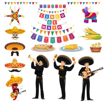 Cinco de Mayo fiesta vector food, musician, sombreros, pinatas, guacamole and enchiladas. Mexican holiday chilli pepper and skull characters, mariachi hats, maracas, guitar, papel picado flags, nachos