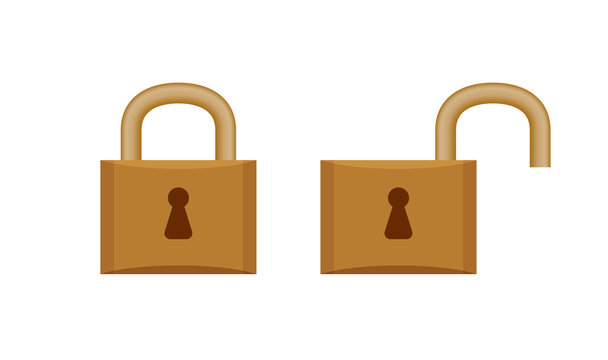 padlock in locked and unlocked isolated on white, brown padlock for clip art, key lock shape for icon cute, icon of key lock and unlock key