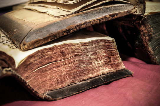 part of the archive of old manuscripts close up