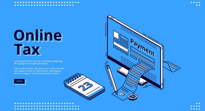 Online tax isometric landing page. Large payment bill coming out of computer desktop screen. Smart technologies for banking accounting, application for internet taxation, 3d vector line art web banner