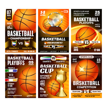 Basketball Sport Event Flyer Posters Set Vector. Basketball Ball And Golden Cup Award Trophy. Announcement Of National And International Championship Sportive Game Concept Template Illustrations