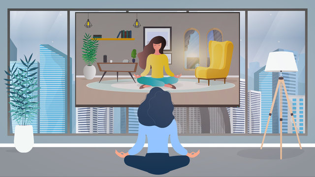 The girl in the office is engaged in meditation. Girl watching yoga lesson on tv. Vector.