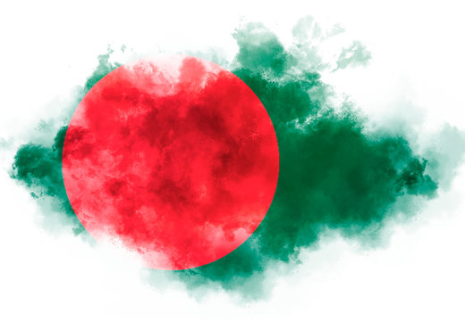 Bangladesh flag performed from color smoke on the white background. Abstract symbol.