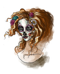 Spoed Fotobehang Aquarel Schedel mexican girl with day of the dead skull painted face