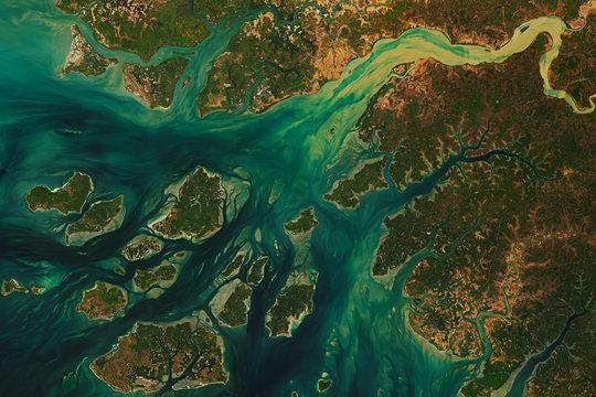High resolution satellite image of João Vieira-Poilão Islands Marine National Park and the West Coast of Guinea Bissau - contains modified Copernicus Sentinel Data (2020)
