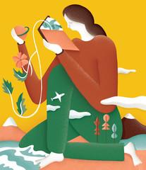 woman reading, explore travel illustration