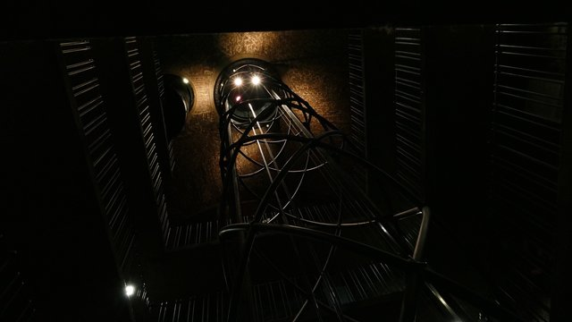 Low Angle View Of Elevator Cable
