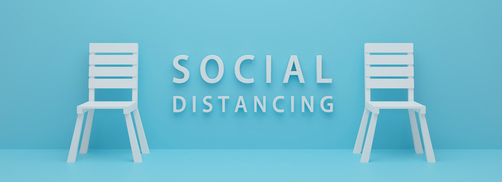3d rendering of word social distance concept. keep spaced between chairs.